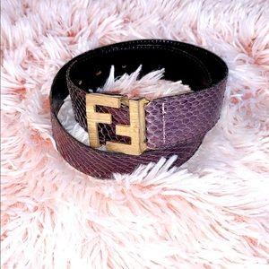 Fendi FF Python Purple Violet Vintage Belt
